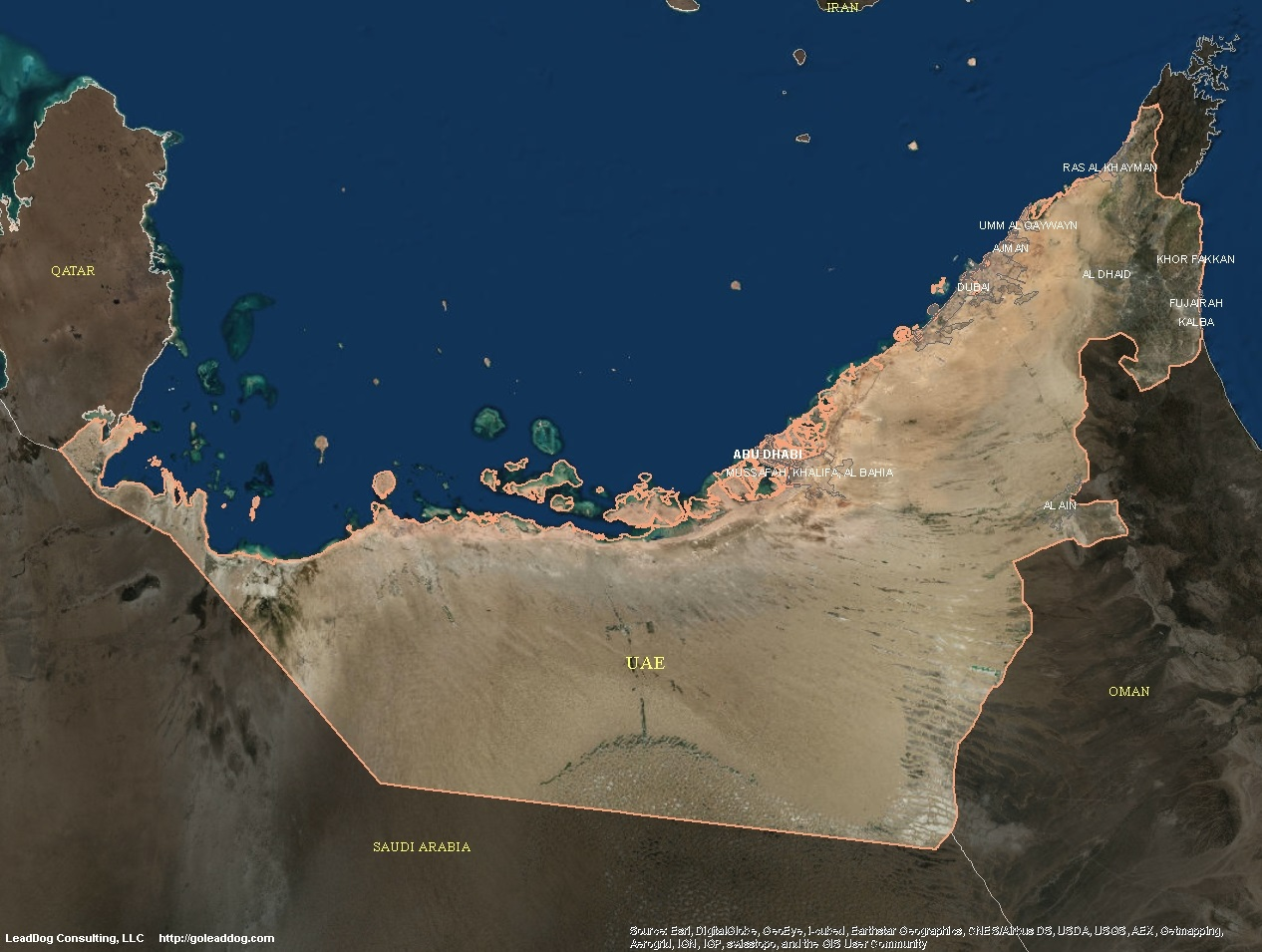 satellite map of uae