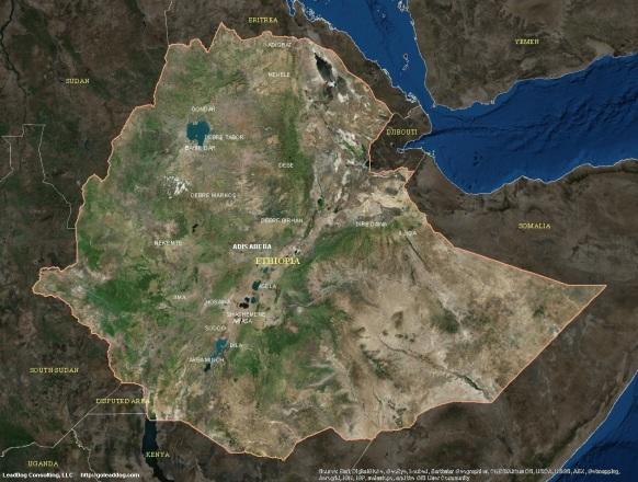 Adis Abeba, Ethiopia Satellite Map