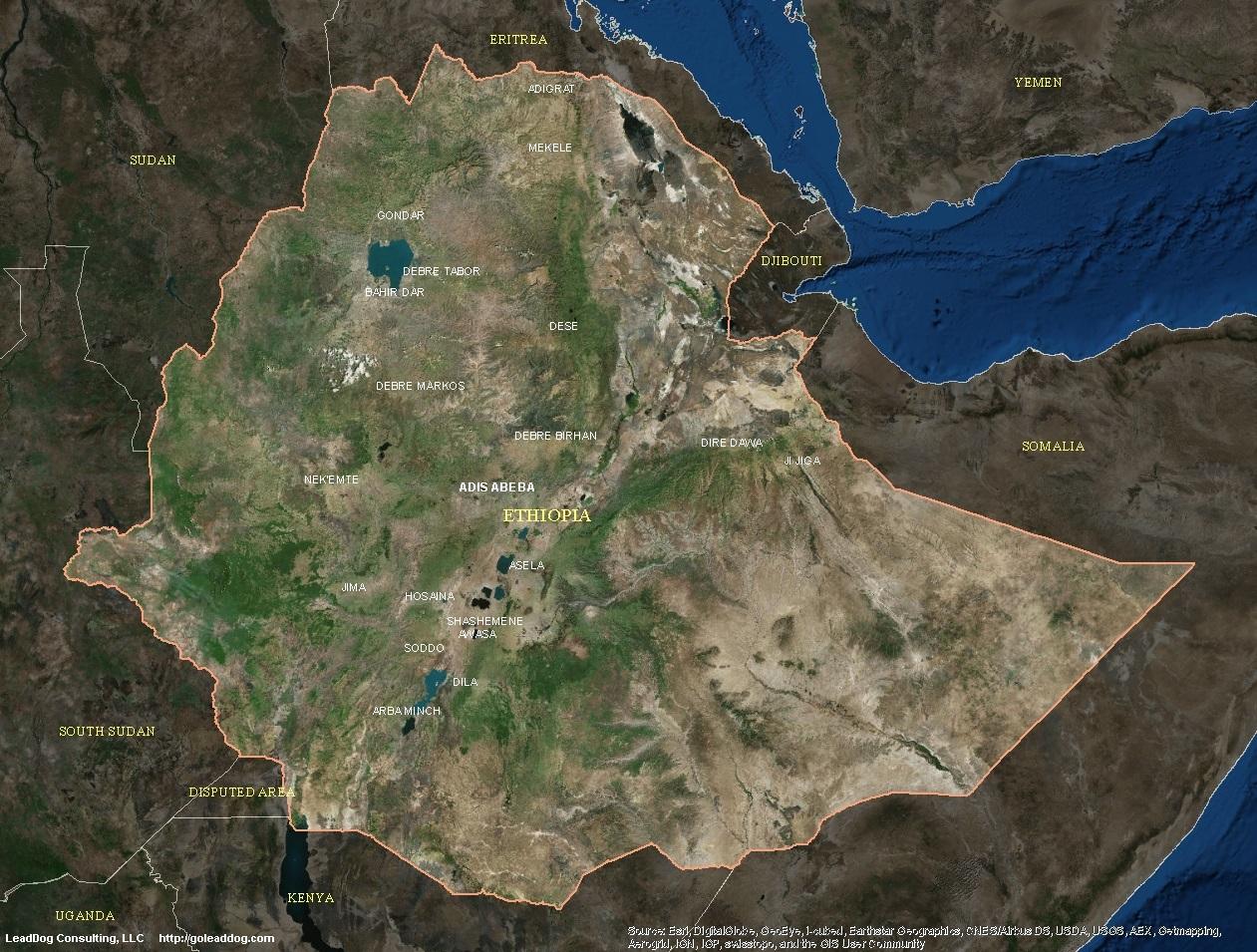 adis abeba ethiopia satellite map