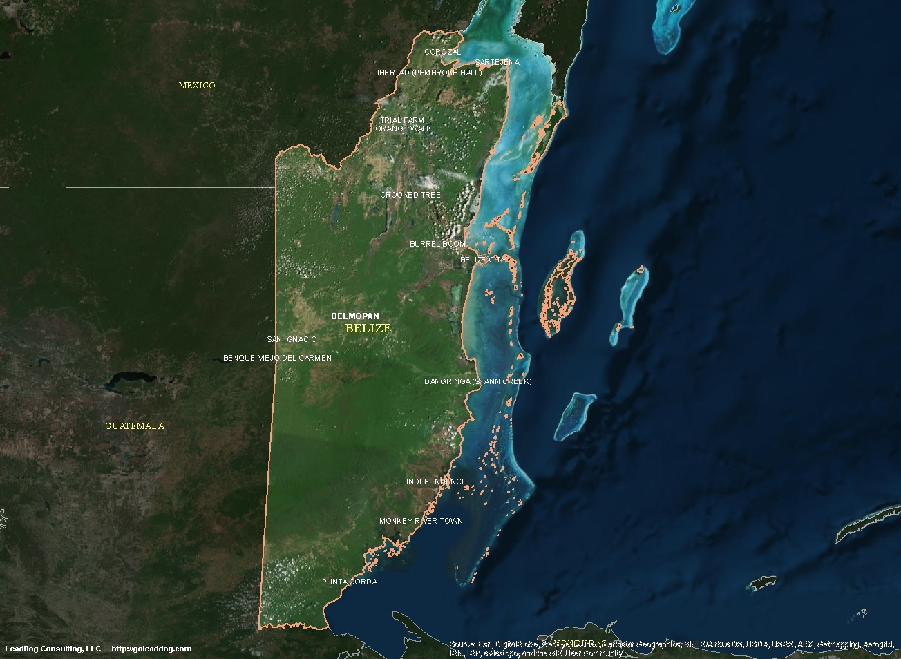 Belize Satellite Maps LeadDog Consulting - Belize map belmopan