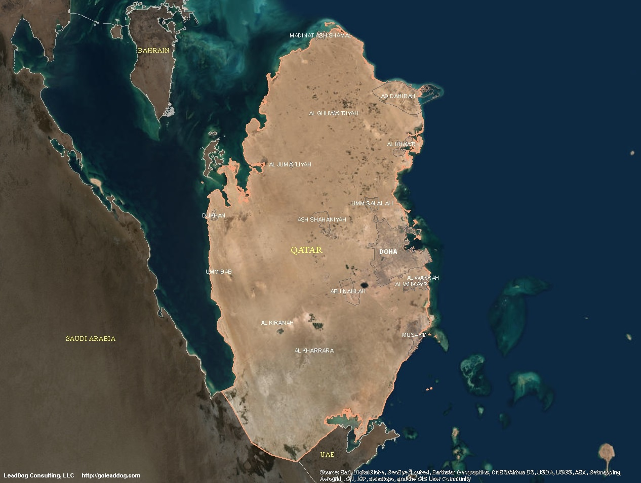 doha qatar satellite map