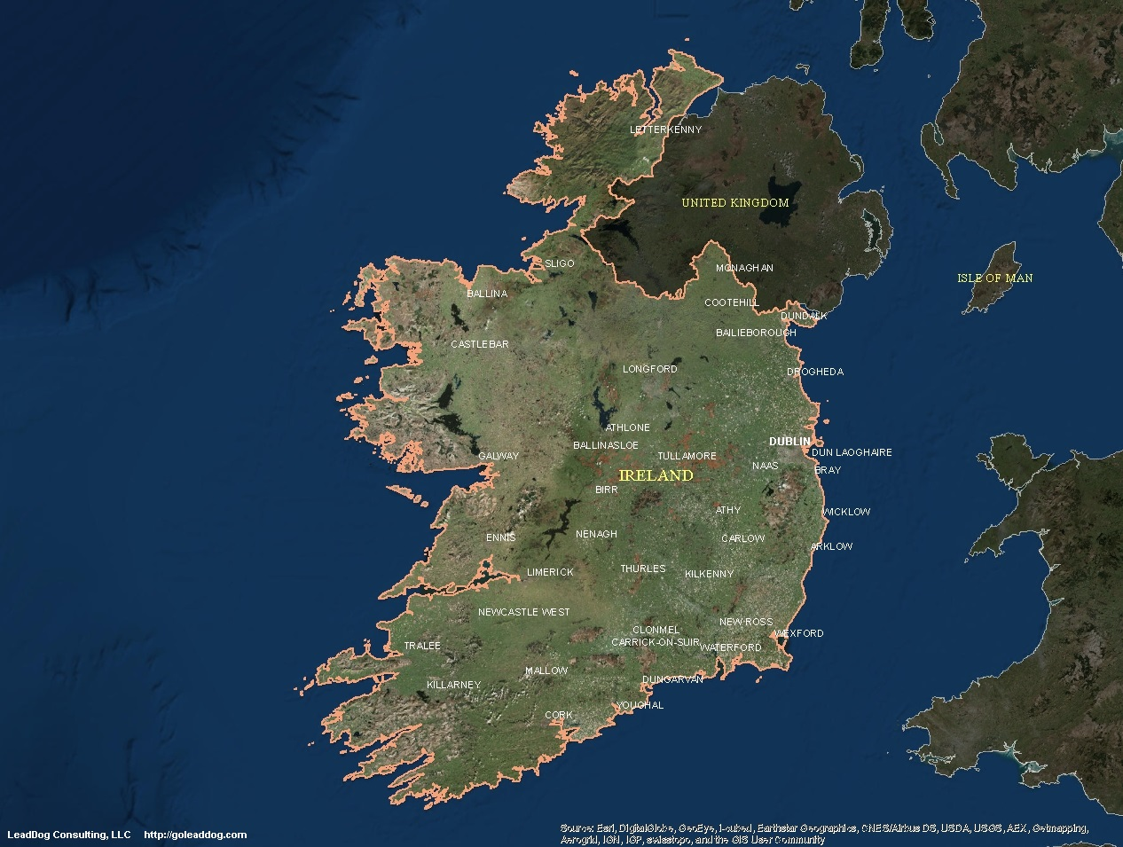 Map Of Ireland Islands.Ireland Satellite Maps Leaddog Consulting