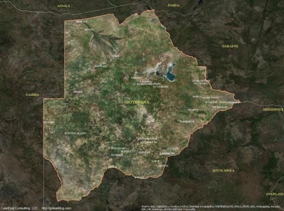 Gaborone, Botswana Satellite Map