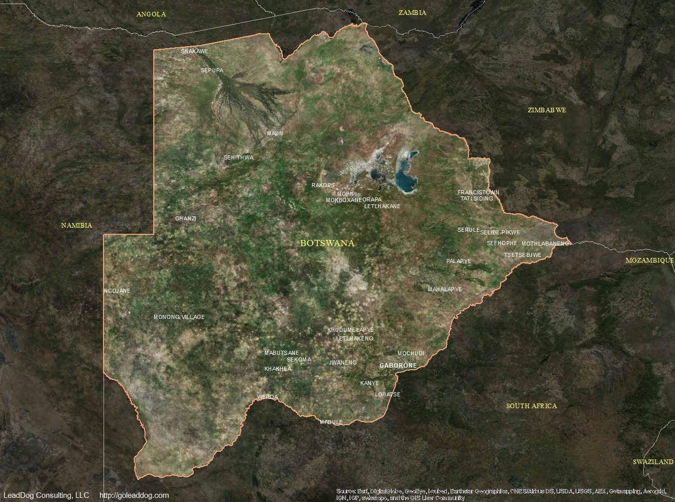 Botswana Satellite Maps Leaddog Consulting