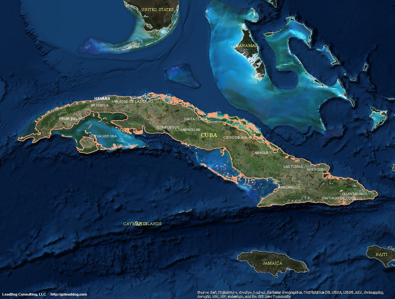 Cuba Satellite Maps LeadDog Consulting - Google earth satellite map