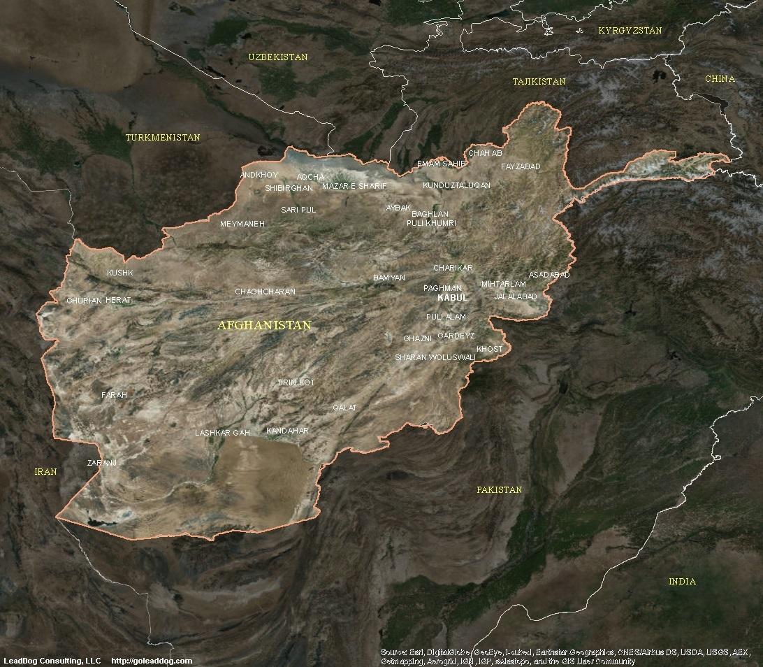 Kabul Afghanistan Satellite Map Afghanistan Satellite Maps
