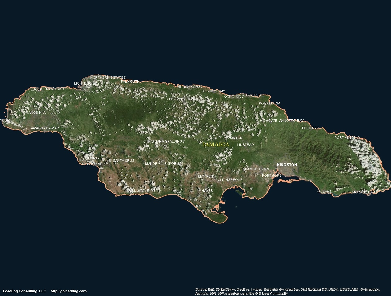 Zoomedin View Of A Jamaica Outline With Perspective Lines Against - Recent google maps satellite images