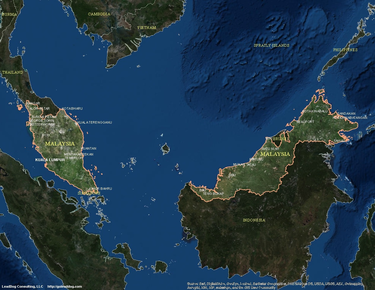 Malaysia Satellite Maps LeadDog Consulting - Sweden map satellite