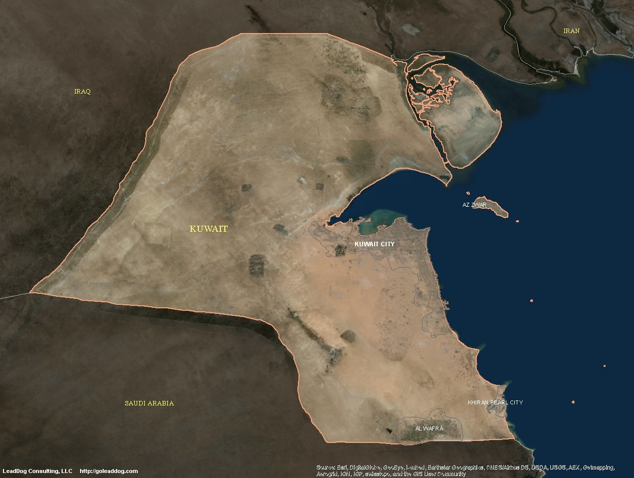 Kuwait Satellite Maps LeadDog Consulting - Kuwait map
