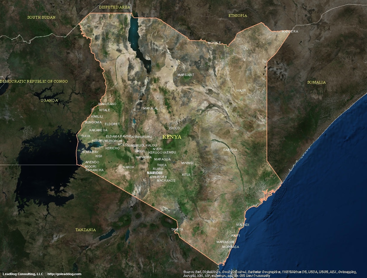 Kenia Satelliten karte
