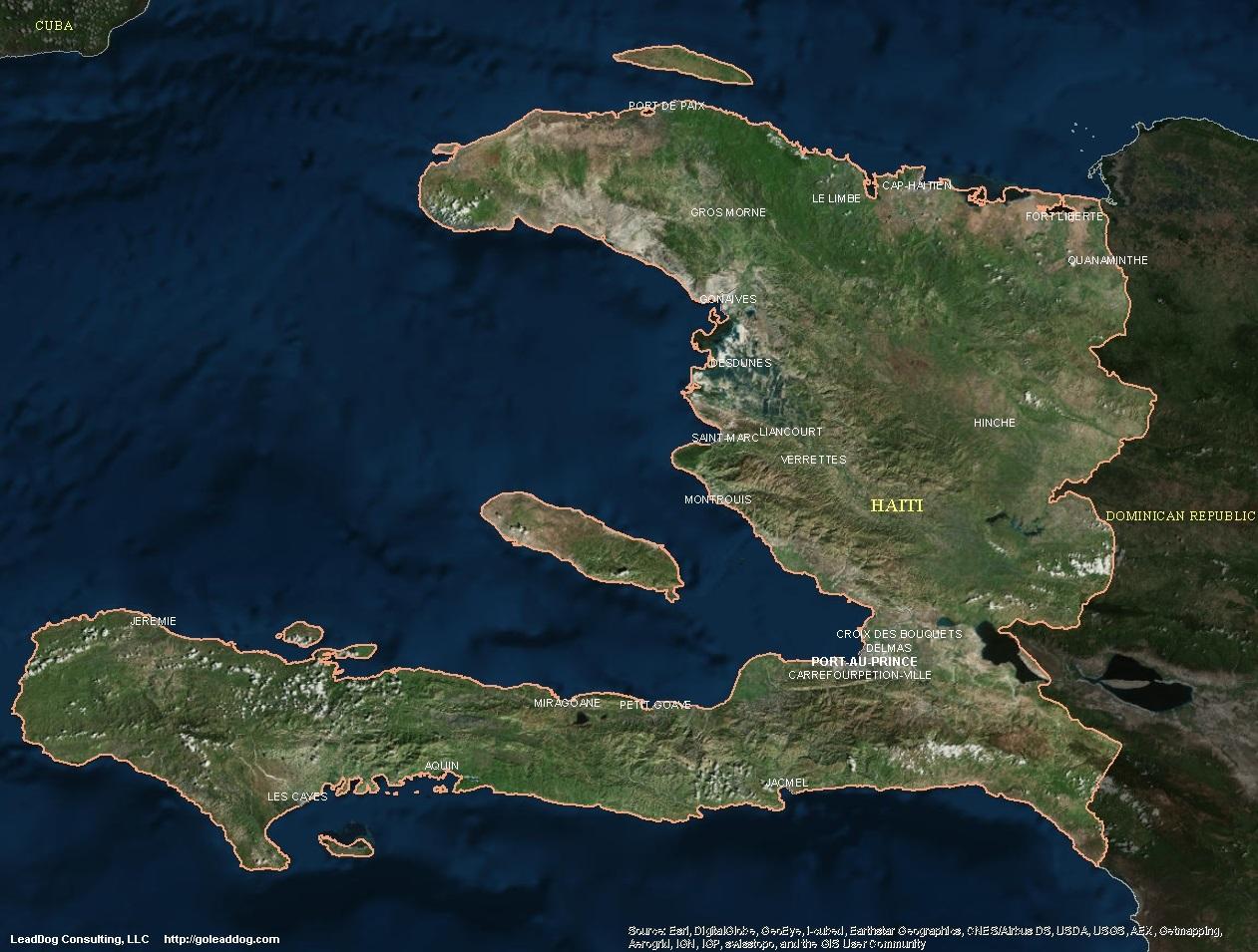 Satellite Map of Haiti And Dominican Republic Haiti Satellite Map