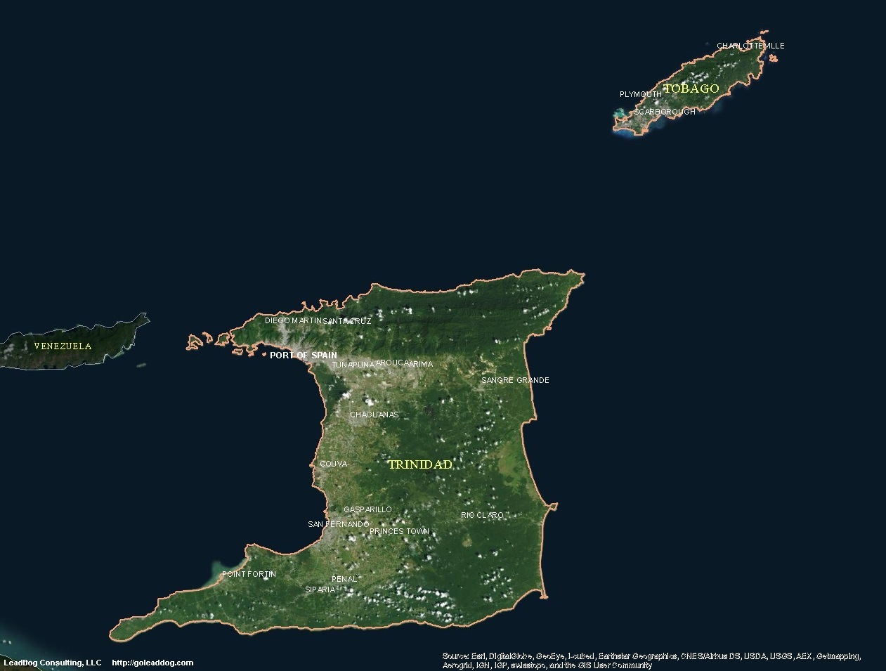 Google Earth Map Of Spain.Trinidad And Tobago Satellite Maps Leaddog Consulting