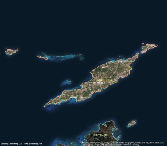 The Valley, Anguilla Satellite Map