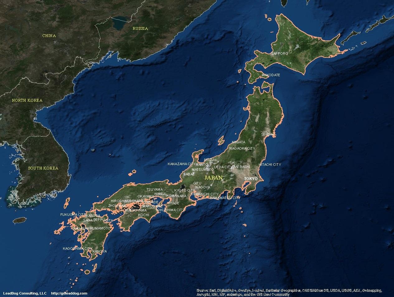 Japan Satellite Maps LeadDog Consulting - Portugal map satellite