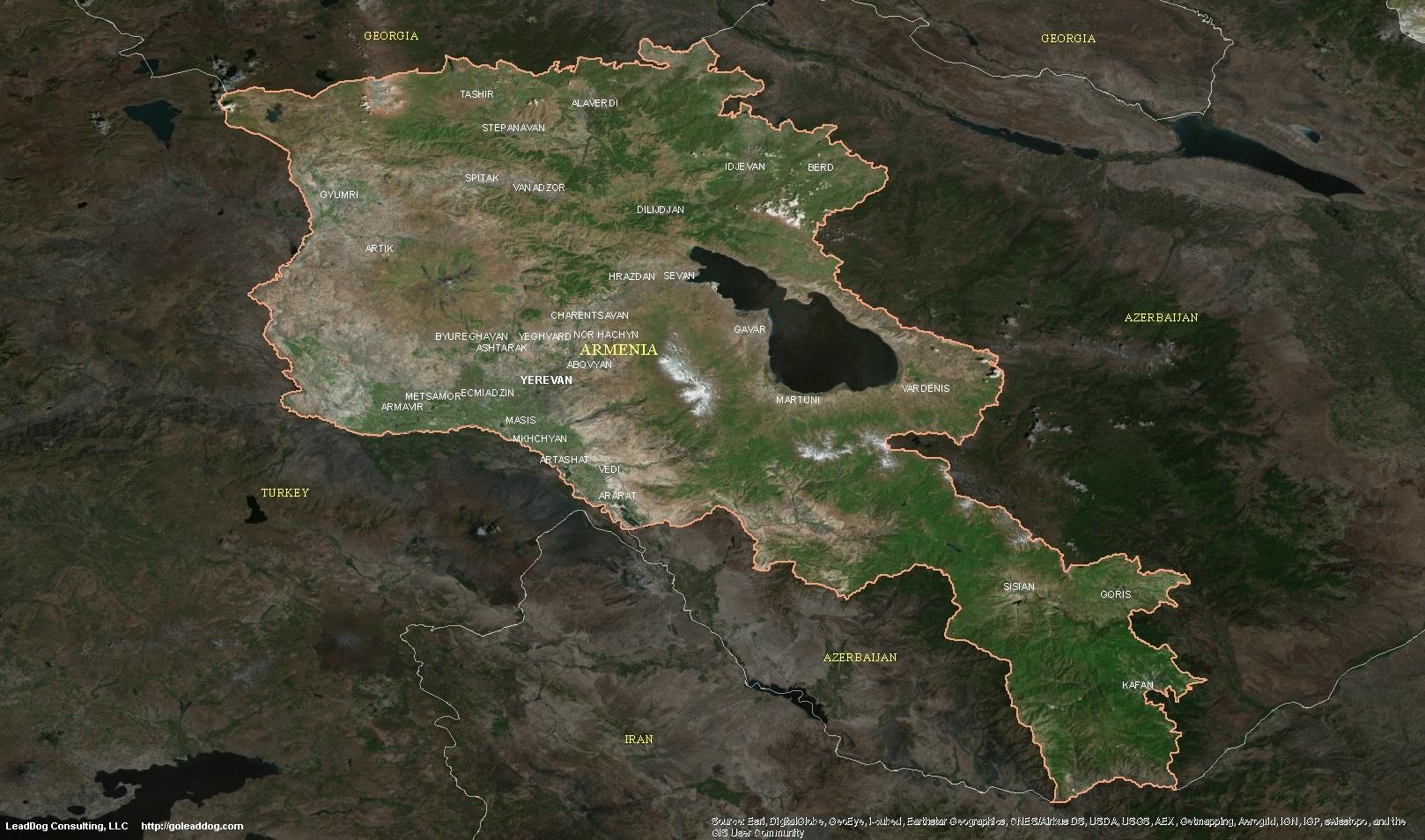Armenia Satellite Maps LeadDog Consulting - Yerevan georgia map