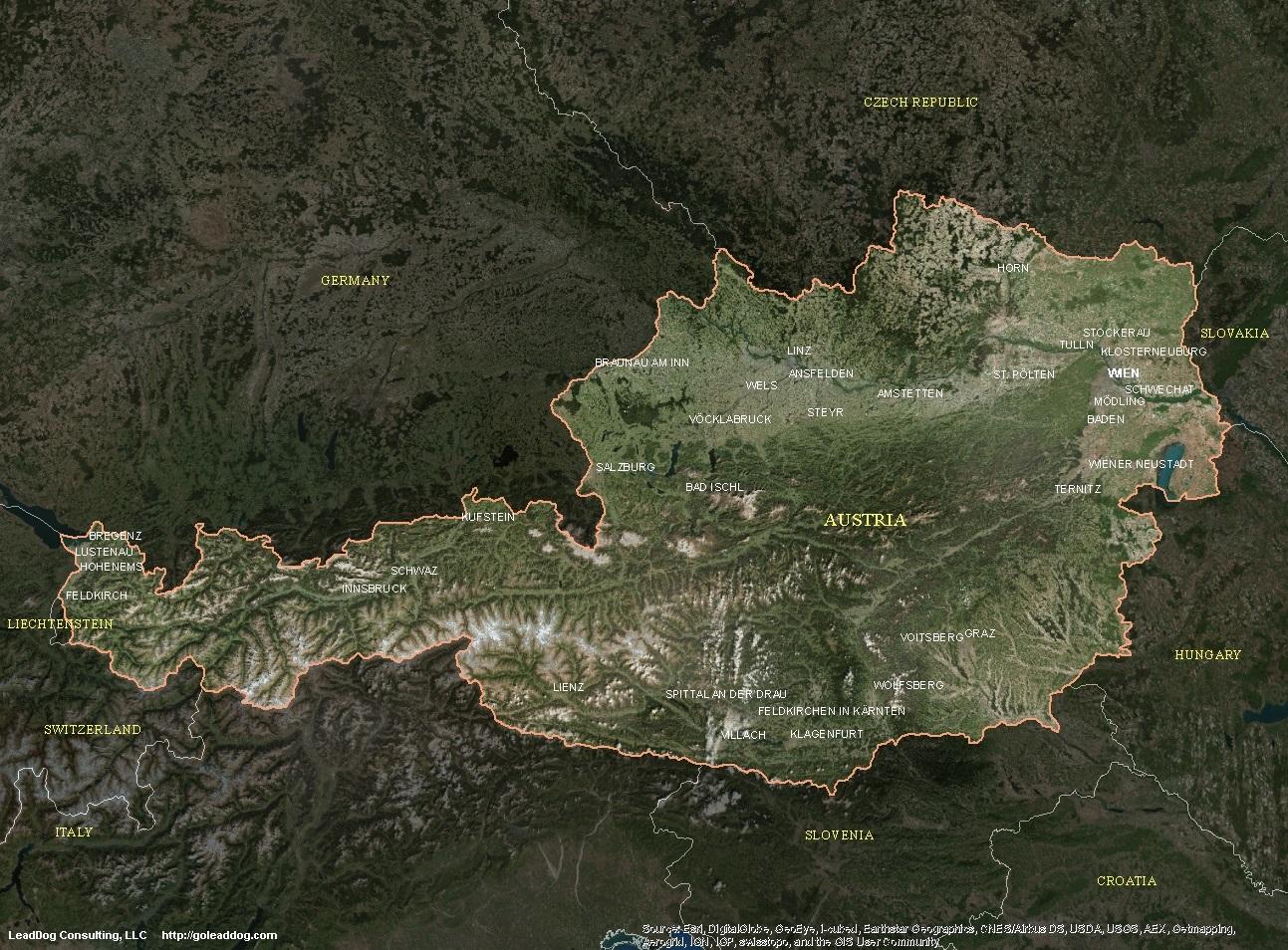 Austria Satellite Maps | LeadDog Consulting on satellite map of saipan, satellite map of mali, satellite map of vatican city, satellite map of brunei darussalam, satellite map of prague, satellite map of abu dhabi, satellite map of the gambia, satellite map of montserrat, satellite map of caribbean islands, satellite map of the vatican, satellite map of mauritania, satellite map of iraq, satellite map of united states of america, satellite map of tunisia, satellite map of kosovo, satellite map of western europe, satellite map of qatar, satellite map of uzbekistan, satellite map of trinidad and tobago, satellite map of somalia,