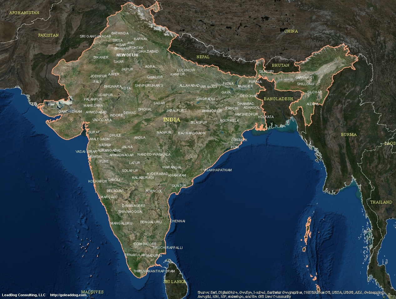 India Satelite Map India Satellite Maps | LeadDog Consulting