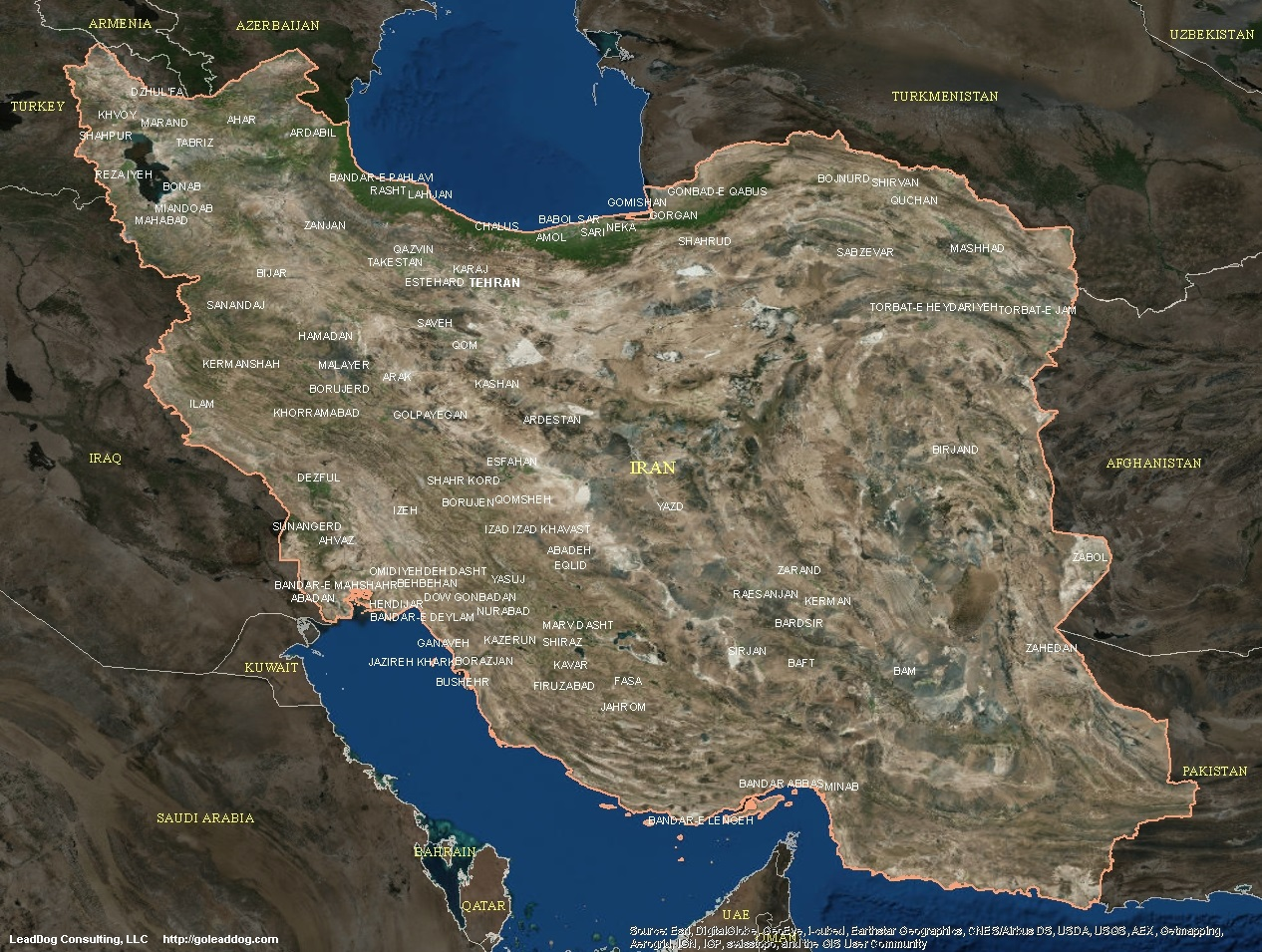 Iran Satellite Maps | LeadDog Consulting on satellite map of caribbean islands, satellite map of tunisia, satellite map of trinidad and tobago, satellite map of vatican city, satellite map of germany, satellite map of the bahamas, satellite map of haiti, satellite map of czech republic, satellite map of iceland, satellite map of somalia, satellite map of united states of america, satellite map of canada, satellite map of the gambia, satellite map of saipan, satellite map of kosovo, satellite map of the vatican, satellite map of solomon islands, satellite map of ireland, satellite map of brunei darussalam, satellite map of qatar,