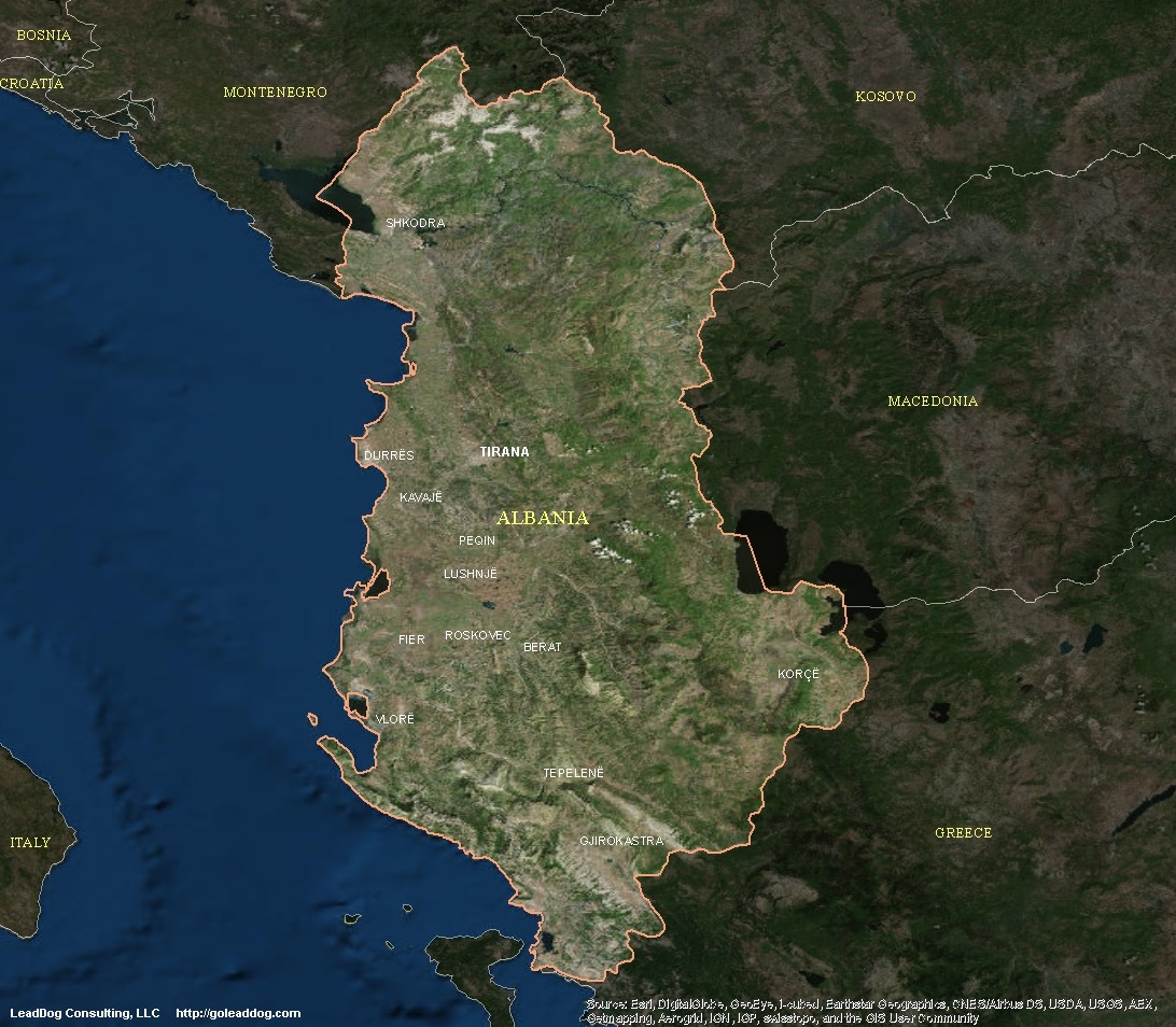Albania Satellite Maps | LeadDog Consulting on satellite map of the vatican, satellite map of trinidad and tobago, satellite map of haiti, satellite map of cebu island, satellite map of abu dhabi, satellite map of iraq, satellite map of qatar, satellite map of kosovo, satellite map of czech republic, satellite map of mali, satellite map of brunei darussalam, satellite map of united states of america, satellite map of vatican city, satellite map of saipan, satellite map of tunisia, satellite map of iceland, satellite map of quezon city, satellite map of somalia, satellite map of caribbean islands, satellite map of eastern europe,